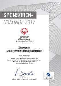 Urkunde_Special_Olympics_2017_Zirlewagen-Steuerberatung